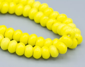 "32 Vintage Bright Yellow Rondelle Beads With Big Holes 6x9mm on a 8"" Strand"