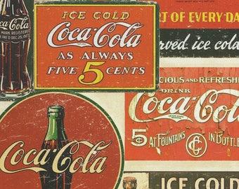 Coca Cola Vintage Label Cotton fabric