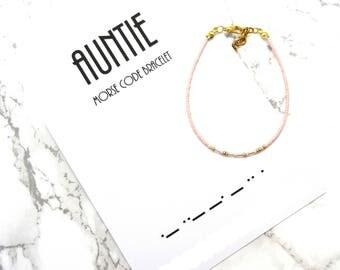 AUNTIE morse code bracelet, Aunt gift , baby shower gift, morse code jewelry, minimalist dainty bracelet, simple delicate bracelet