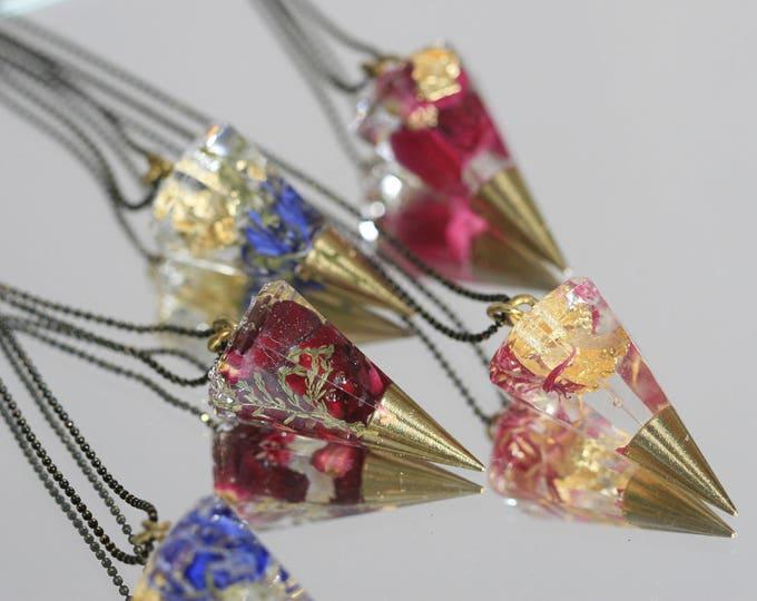 Wicklow Wildplant & Clear Resin Necklace   Brass and Resin   Irish Plant Necklace   Botanical Jewellery    Jewelry   Geometric Jewellery