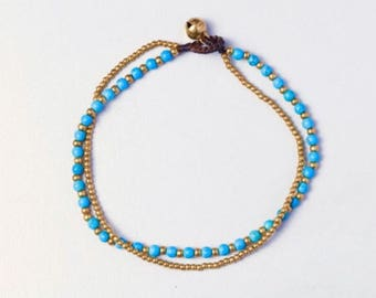 Turquoise Anklet, Blue And Brass Beads Anklet, Woven Anklet, Beaded Anklet, Simple Gift Anklet   A75