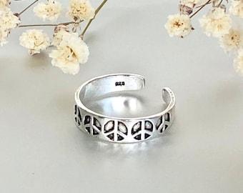 Toe Ring, Peace Toe Ring, Silver Toe Bands, Simple Toe Ring, Minimalist Toe Ring, Bohemian Toe Ring TS115