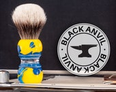 Shaving Brush - Black Anvil - Stradivarius. Pearl Blue and Yellow handle.