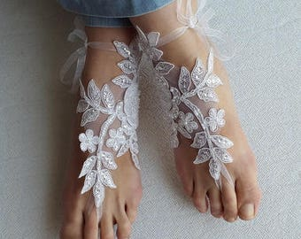 barefoot sandals,wedding shoes, summer shoes,Beaded .white lace, wedding sandals,prom dress accessories, foot jewelry,, free shipping!