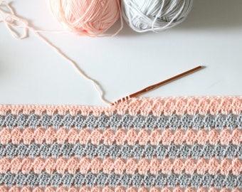 Crochet Modern Granny Blanket in Peach and Grey - Daisy Farm Crafts