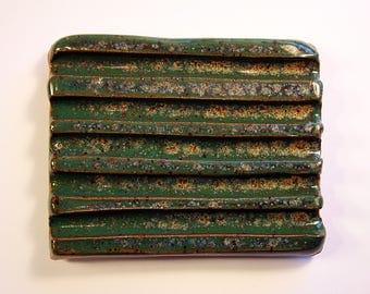 Ceramic Soap Dish - Blue, Green, and White Speckled Soap Dish, Clay Soap Dish, Pottery Soap Dish, Handmade Soap Dish, Glazed Soap Dish