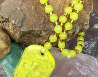 Yellow Glass Cross Prayer, Meditation, or Birthing Beads