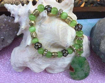 Green Agate Teardrop Wristlet Gemstone with Green Cat's Eye Beads and embelishments