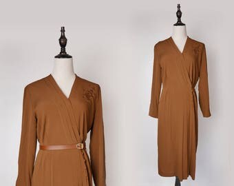 Brown Vintage Women Pleated Maxi Dress 1980s V Collar Long Sleeves Size M