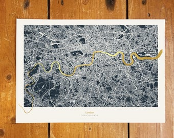 London Metallic Thames Map - Gold Foil - Dark Background