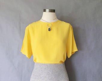 vintage silk blouse/ minimalist silk top/ silk shirt/ 80s silk top /yellow women's size S/M
