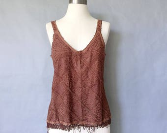 vintage sleeveless blouse/ tank top/ boho style, embroidered shirt women's size S/M