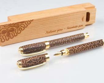 Wooden Fountain pen with lace motif or custom design