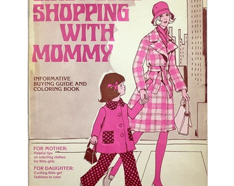 Vintage Coloring Book, Cindy Goes Shopping with Mommy, ILGWU International Ladies' Garment Workers' Union, Union Label, Mid Century, 1970s