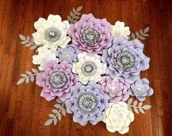 12 Piece paper flowers, nursery decor, nursery flowers, paper flowers, customize your colors