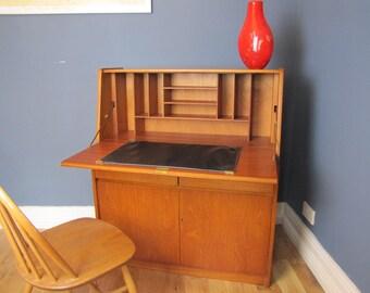Mid Century Teak Bureau Writing Desk Vintage Lockable With Key Retro 1960's By Remploy