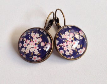 Cabochon - whasi - - Japanese cherry blossom earrings