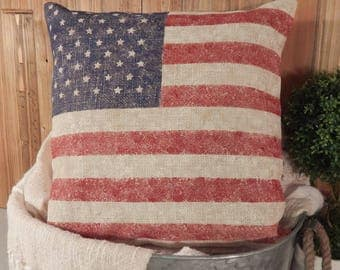 Patriotic Pillow 16x16, Flag Pillow, American Flag, Independence Day, July 4th, Pillow Cover, 4th of July, Memorial Day, Decorative Pillow