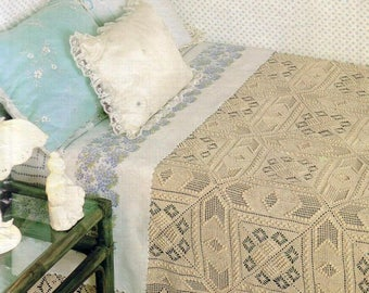 38. Vintage ecru crochet bedspread UK pattern in pdf