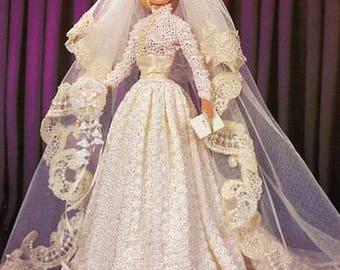 56. Barbie Bridal fashion doll dress, crochet pattern in pdf, Bride Barbie dress crochet pattern in pdf
