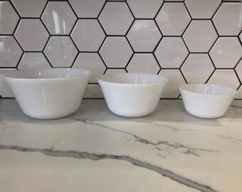 Set of 3 white Fireking bowls