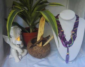 Unique braiding Macrame Amethyst pendulum necklace
