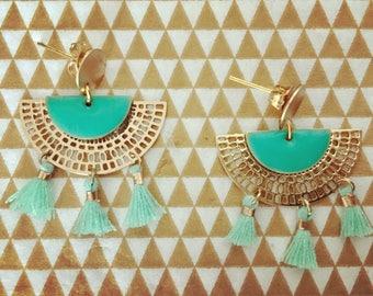 Aztec dangle tassel earrings