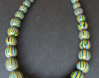 Harlequin polymer clay beaded necklace