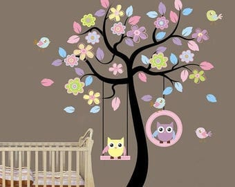 Limited Time Sale Kids wall decal, Tree birds wall decal, Kids room wall decal, Owl tree wall decal, Girls nursery tree, Nursery decal