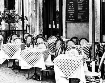 Italian Piazza - Italy Photography - Black and White - Cafe - Italy - Pizzeria - Piazza - Restaurant - Monochrome -  Fine Art Photography