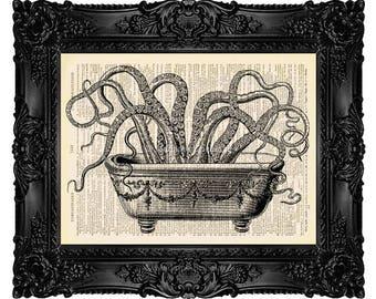Octopus Dictionary Art Print, Octopus Art, Octopus Print , Bathroom Art, Bathroom Decor Upcycled Book Page Octopus in Bathtub no.79