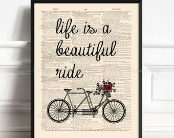 Bike Flower Basket, Husband Poster Gift, Cyclist Gift, Bicycle Flower, Tandem Flower, Life Beautiful Ride, 4th Anniversary Gift, Cute  425