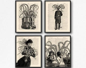 Octopus Art Gift, Cthulhu Art, Cool Girlfriend Art, Mystery Xmas Gift, HP Lovecraft, Bathroom Art Poster, Cool Girl Gift, Literary Xmas, S22