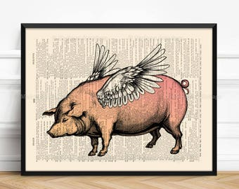 When Pigs Fly, Husband Poster Gift, Flying Pig, Pigs With Wings, Cool Mom Gift, Nursery Print Pig, Nursery Animal Gift, Home Dorm Wall  076