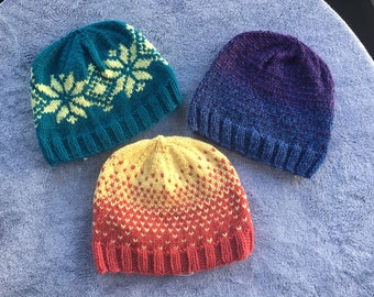 Assorted fair isle knit beanies