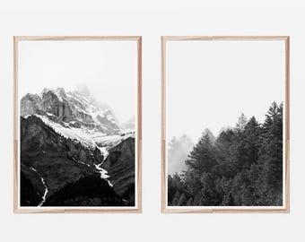 Black and White Prints,Scandinavian,Mountain Print,Nordic Prints,Dorm Decor,Wall Art,Forest Print,Nature Print,Set of 2 Prints,Set of Prints
