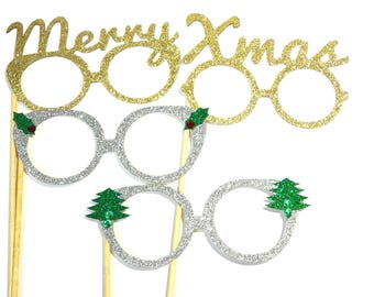 Photo Booth Props - Set of 4 Christmas Holiday Props - Merry Xmas Gold Silver Glasses
