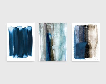 Blue U0026 Brown Wall Art Set, Set Of 3 Prints, Abstract Watercolor Painting,