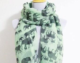 elephant scarf,elephant infinity scarf, gift for her, for women, scarf for her, scarf for women, christmas gifts, animal print scarf