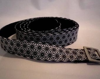 black and white fabric belt inner Japanese black - gift idea
