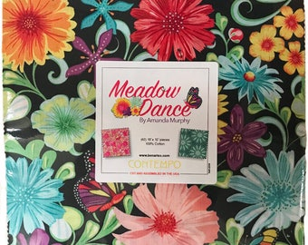 "Meadow Dance by Amanda Murphy for Benartex Layer Cake contains 42 10"" squares = flower feminine MED10PK quilting precut fabric"