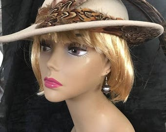 CLEARANCE SALE Gorgeous Vintage JACK Macconnell Boutique Wide Brim Hat with Feathers