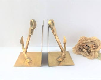 Vintage Brass Anchor Bookends / Vintage Nautical Bookends / Ocean Decor / Brass Bookends / Brass Decor / Vintage Brass Decor / Bookends