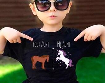 Your Aunt My Aunt Horse Unicorn Funny T-Shirt For Crazy Aunts!