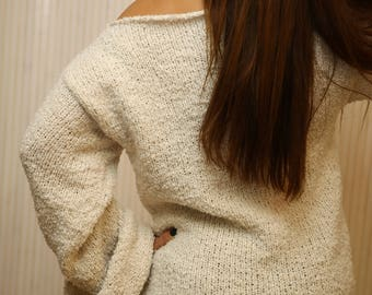 Soft Ivory Sweater , Boat Neck Sweater , Oversize Loose Chunky Knit Sweater , Knit Pullover , Casual Sweater for Women , Women Knitwear