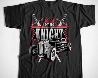 T-Shirt Hot Rod Knight S M L XL 2XL 3XL 4XL V8 Oldtimer Garage Car Mechanic