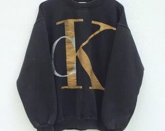 Vintage 90s CK Calvin Klein Sweatshirt Big Logo Jeans Black Long Sleeve Branded Shirt Streetwear Hip Hop
