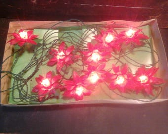 Vintage Poinsettias  Christmas Tree miniature Lights, made in Italy for Santa's World in Original Box