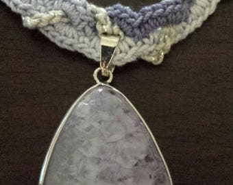Crocheted  necklace with lavender crystal stone pendant inventory clearance