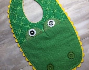 Adorable Alligator Baby Bib - Gift Idea - Great Baby Shower Gift - Soft Baby Bib - Green Bib - Alligator Bib - Spring  Bib - Modern Baby Bib